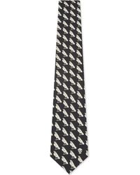 Alexander McQueen - Black Raven & Mini Skull Silk Tie for Men - Lyst