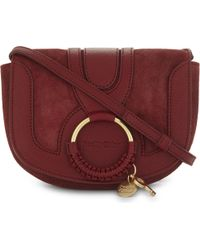 See By Chloé - Red Hoop Suede Saddle Bag - Lyst