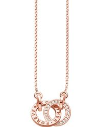 Thomas Sabo - Metallic Together 18ct Rose Gold-plated Sterling Silver And Crystal Necklace - Lyst