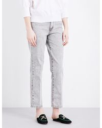 Maje - Gray Perla Straight High-rise Jeans - Lyst