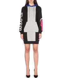 Moschino - Black Mini Hoodie Cotton-jersey Dress - Lyst