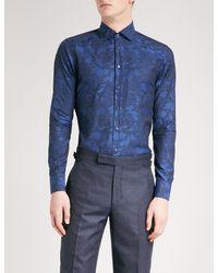 Etro - Blue Paisley-print Slim-fit Cotton Shirt for Men - Lyst