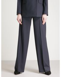 Theory - Blue Piazza Wide-leg High-rise Wool Trousers - Lyst