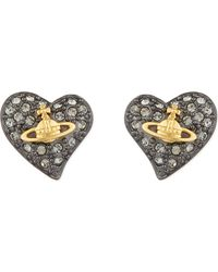 Vivienne Westwood | Multicolor Tiny Diamanté Heart Studs | Lyst
