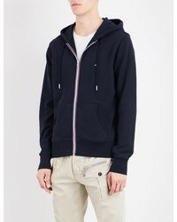 Tommy Hilfiger - Blue Core Striped-detail Cotton-jersey Hoody for Men - Lyst