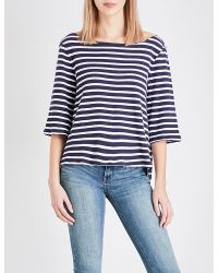 Free People | Blue Canne Cotton-blend Top | Lyst