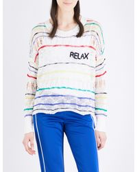 Wildfox - White Relax Striped Open-knit Jumper - Lyst