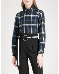 Claudie Pierlot - Blue Hoop Ring-detail Checked Flannel Shirt - Lyst