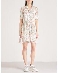The Kooples - Pink Floral-print Silk-crepe Mini Shirt Dress - Lyst