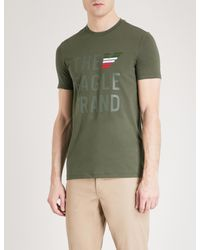 Emporio Armani - Green Printed Cotton-jersey T-shirt for Men - Lyst