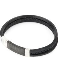 Tateossian - Black Carbon Slide Sterling Silver And Leather Bracelet - Lyst