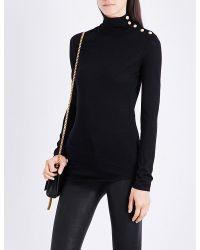 Balmain | Black Button-detail Turtleneck Wool Jumper | Lyst