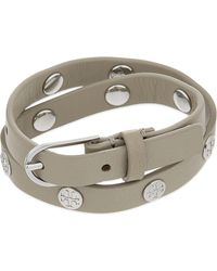 Tory Burch | Metallic Logo Double Wrap Leather Bracelet | Lyst