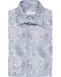 Etro | Blue Paisley-print Slim-fit Cotton Shirt for Men | Lyst