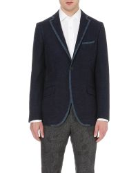 Etro - Blue Tipped Tweed Jacket for Men - Lyst