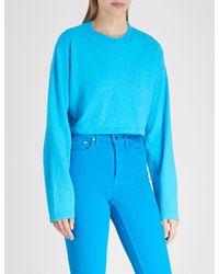 Cotton Citizen - Blue Tokyo Cropped Cotton Jumper - Lyst