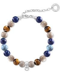 Thomas Sabo - Blue Charm Club Silver Beaded Charm Bracelet - Lyst