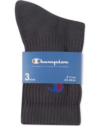 Champion - Gray Crew Socks Pack Of Three for Men - Lyst