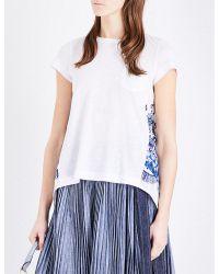 Sacai | White Open-back Jersey T-shirt | Lyst