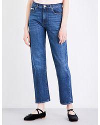 ALEXACHUNG - Blue Boyfriend-fit Cropped High-rise Jeans - Lyst