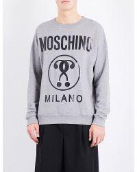 Moschino | Gray Logo-print Cotton Sweatshirt for Men | Lyst