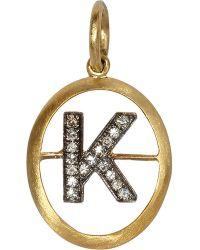 Annoushka   Metallic 18ct Yellow-gold And Diamond K Pendant   Lyst