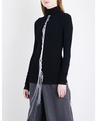 Moohong - Black Text-embroidered Turtleneck Cotton Jumper - Lyst