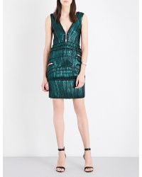 Givenchy | Green Zip-detailed Silk-blend Dress | Lyst