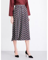 Nina Ricci   Multicolor Stripe-print Silk-crepe Skirt   Lyst