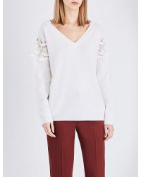 Chloé | White Lace-insert Wool And Cashmere-blend Jumper | Lyst