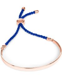Monica Vinader - Blue Fiji 18ct Rose Gold-plated Friendship Bracelet - Lyst