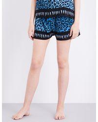 Rockins - Blue Leopard-print Silk Pyjama Shorts - Lyst
