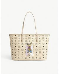 MCM - Natural Embellished Rabbit Leather Tote - Lyst
