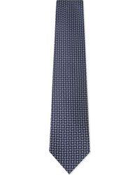 Ermenegildo Zegna - Mens Blues Embellished Diamond And Squares Silk Tie for Men - Lyst