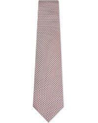 Ermenegildo Zegna - Pink Micro-diamond Geometric Floral Silk Tie for Men - Lyst