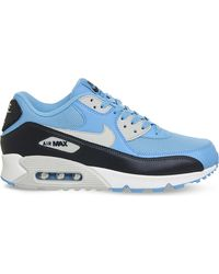 aab1edc215 Lyst - Nike Air Max 90 Leather And Mesh Trainers in Blue for Men