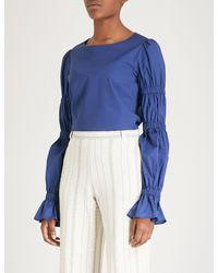 Kitri - Blue Karolina Stretch-cotton Top - Lyst