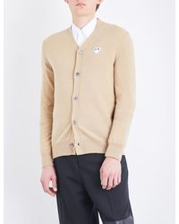 COMME DES GARÇONS PLAY - Natural Heart-appliqué Wool Cardigan for Men - Lyst