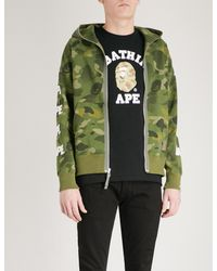 4a3a09fb5126b A Bathing Ape Camo-print Cotton-jersey Hoody in Green for Men - Lyst