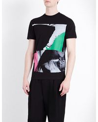 McQ   Black Abstract-print Cotton-jersey T-shirt for Men   Lyst