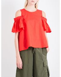 Izzue - Red Ruffled Cold-shoulder Cotton-poplin Top - Lyst