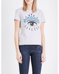 KENZO | Gray Eye-print Cotton-jersey T-shirt | Lyst