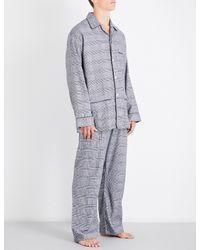 Derek Rose - Gray Classic Check Cotton Pyjama Set for Men - Lyst