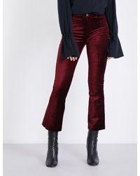 PAIGE - Purple Colette Flared High-rise Velvet Jeans - Lyst