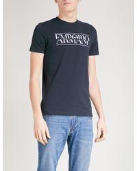 Emporio Armani - Blue Split Logo-print Cotton-jersey T-shirt for Men - Lyst