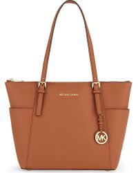 MICHAEL Michael Kors | Orange Jet Set Medium Leather Tote | Lyst