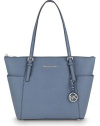 MICHAEL Michael Kors | Blue Jet Set Leather Trapeze Tote | Lyst