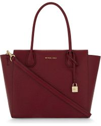 MICHAEL Michael Kors | Red Mercer Large Leather Tote | Lyst