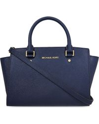 MICHAEL Michael Kors | Blue Selma Medium Saffiano Leather Satchel | Lyst