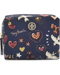 Tory Burch | Blue Brigitte Nylon Cosmetic Case | Lyst